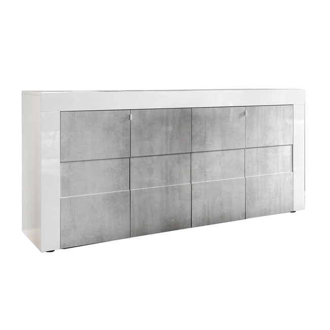 TFT Buffet con 4 ante BUILD L 180 cm Bianco-Cemento