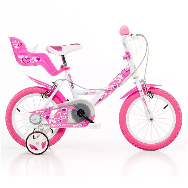 "BICICLETTA  PER BAMBINA 16"" LITTLE HEART 2 FRENi DINO BIKE"