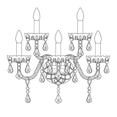Italamp Applique 165 Romantic L 51 cm 5 Luci E14 Dimmerabile