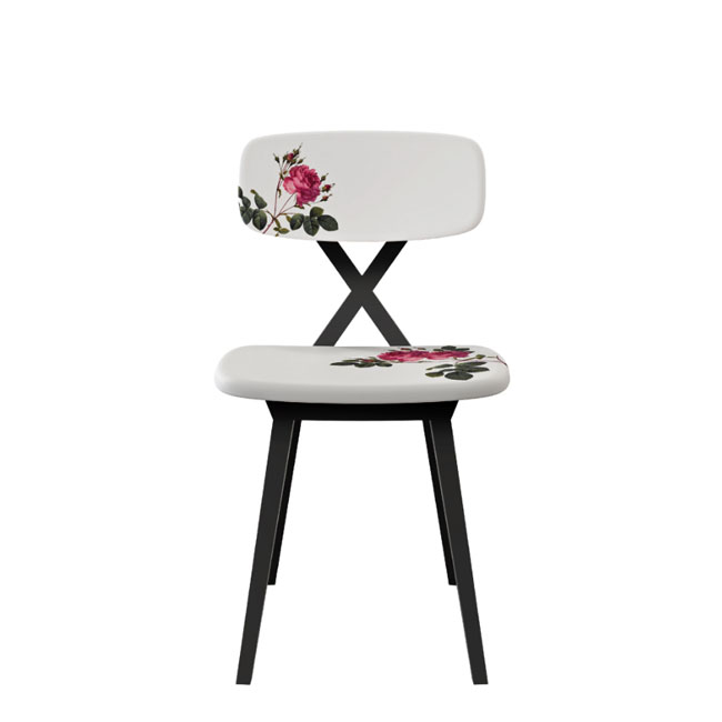 Qeeboo Sedia senza braccioli X chair with flower cushion H 83 cm